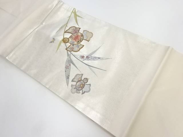 未使用品 蘇州刺繍ふくら雀に花・蝶模様名古屋帯【リサイクル】【中古】