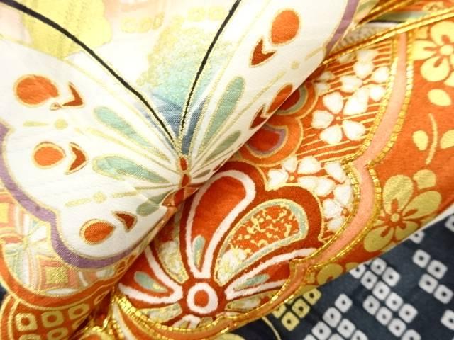 金彩流水に蝶・桜模様刺繍振袖 リサイクル4ARL53j