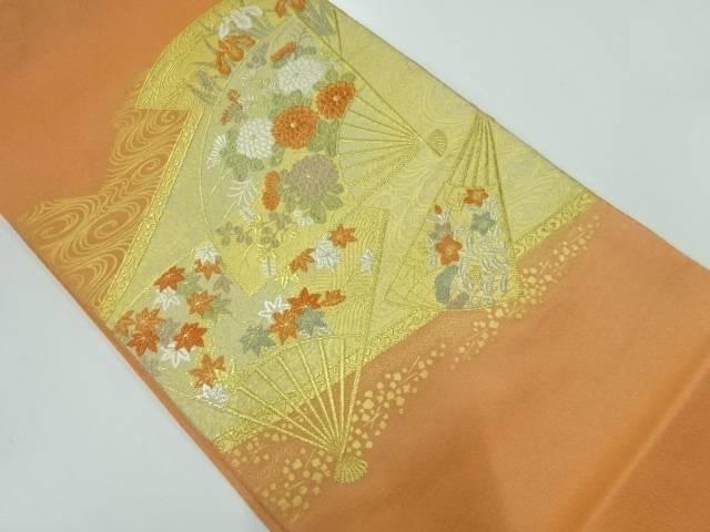 扇に菊・紅葉模様織出し袋帯【リサイクル】【中古】