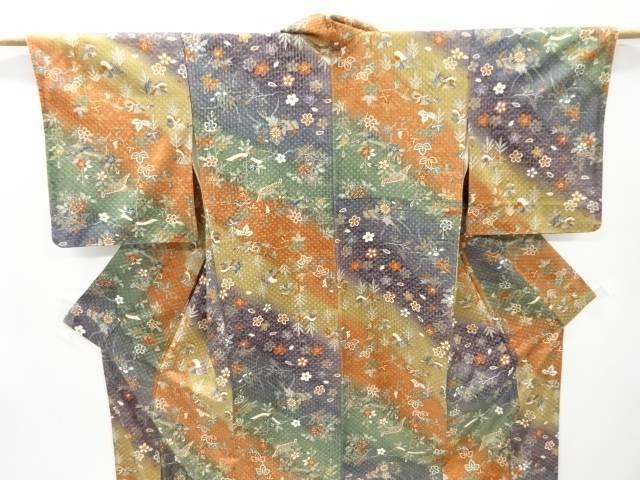 鴛鴦に葡萄・桜模様暈し小紋着物 リサイクルdCeBxo