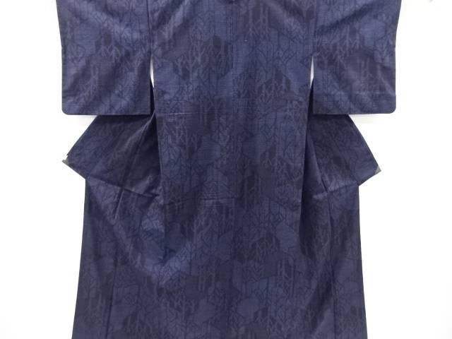抽象木立模様織り出し本真綿結城紬80亀甲着物【リサイクル】【中古】