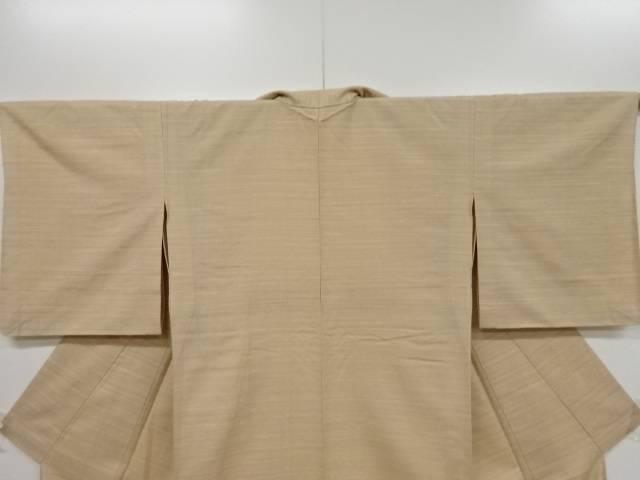未使用品 米沢紬紅花染横段織り出し単衣着物 リサイクルn08PwOkX