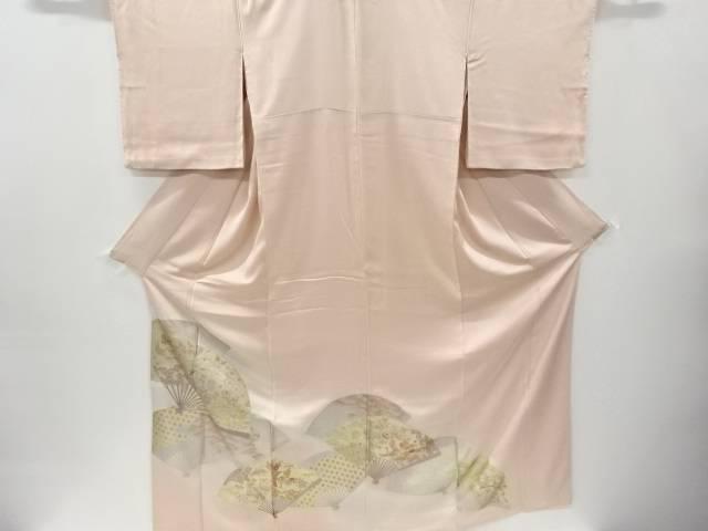 箔置き扇面に松竹梅・鶴模様一つ紋色留袖【リサイクル】【中古】