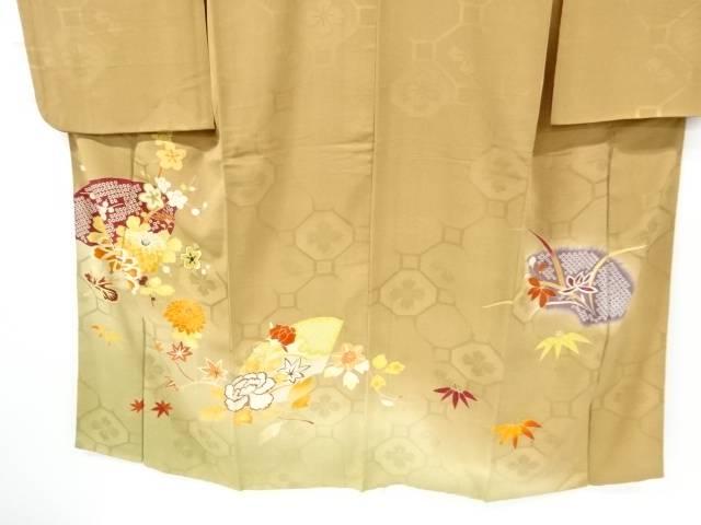 紋錦紗地紙に菊・枝梅・楓模様刺繍着物 アンティークIeWED2Y9Hb