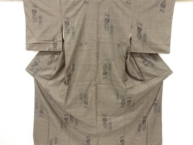 縞に牡丹・梅模様織り出し本場泥大島紬着物(7マルキ)【リサイクル】【中古】