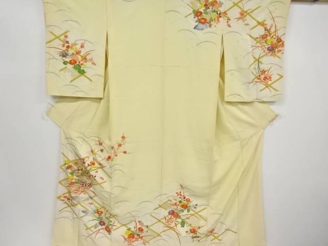 金彩斜め格子に菊楓模様刺繍訪問着【リサイクル】【中古】