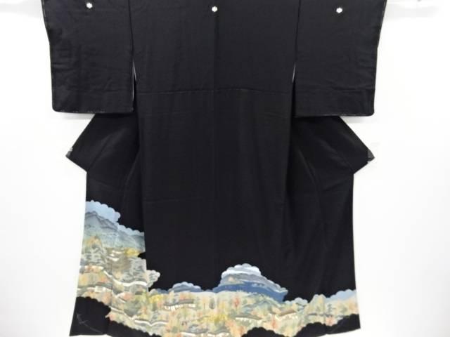 金彩城下町風景模様留袖(比翼付き)【リサイクル】【中古】