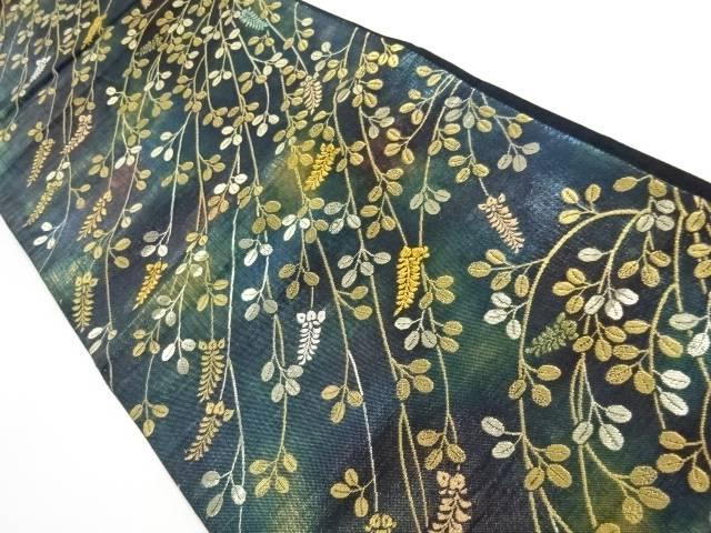 金銀糸萩模様織出し袋帯【リサイクル】【中古】