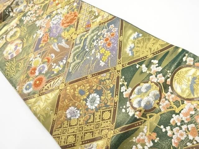 本金格天井に四季草花模様織出し袋帯【リサイクル】【中古】