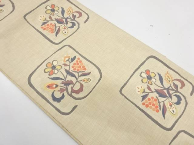合計3980円以上の購入で送料無料 最安値 花唐草模様織出し袋帯 リサイクル 中古 日本製