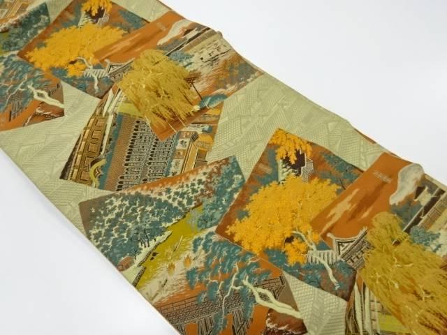 色紙に風景模様織出し全通袋帯【リサイクル】【中古】
