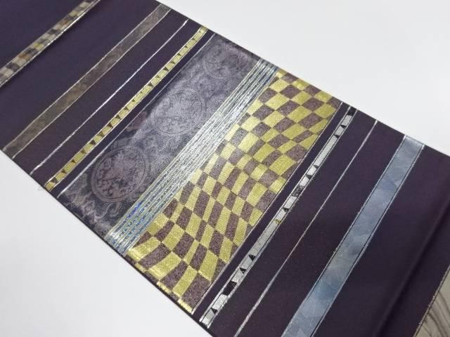 未使用品 引箔横段に更紗模様織出し袋帯【リサイクル】【中古】