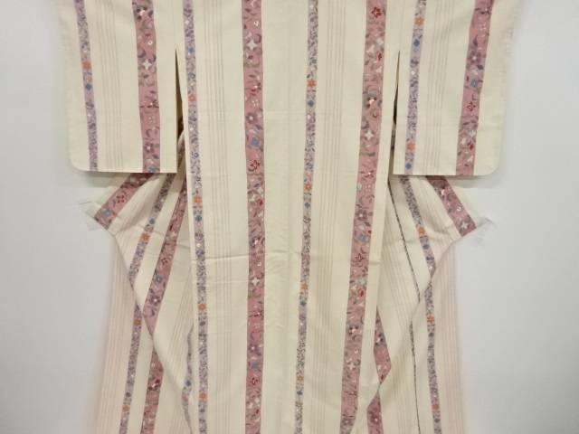 未使用品 縞に花更紗模様織り出し十日町紬着物【リサイクル】【中古】