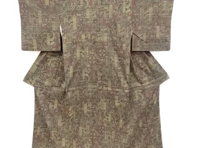 重要無形文化財 切りばめ風花更紗模様織り出し本場結城紬100亀甲着物【リサイクル】【中古】