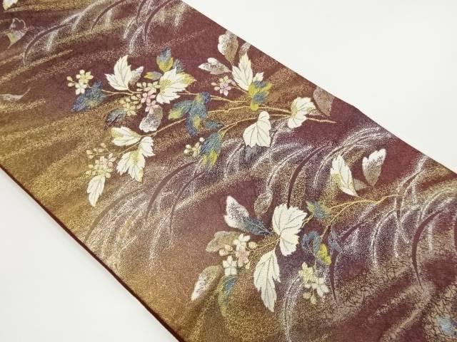 草花に芝草模様織出しぼかし袋帯【リサイクル】【中古】