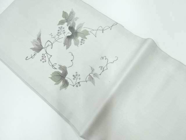 未使用品 紗紬手描き木の実に草葉模様名古屋帯【リサイクル】【中古】