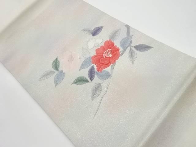 椿模様刺繍名古屋帯【リサイクル】【中古】
