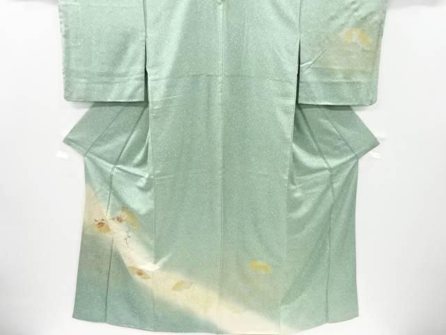 金彩 地紙に菊模様刺繍一つ紋訪問着【リサイクル】【中古】