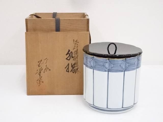 京焼 玉堂窯造 染付桶側王瓔珞 水指 共箱