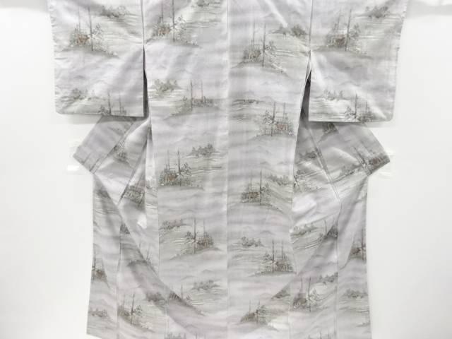 鹿模様織り出し手織り節紬付け下げ着物【リサイクル】【中古】