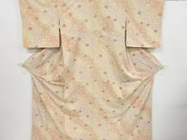 未使用品 桜尽くし模様ぼかし上代紬着物【リサイクル】【中古】