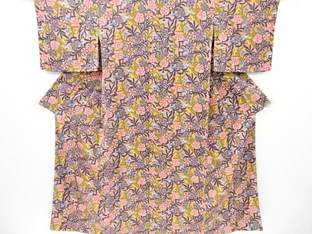 未使用品 仕立て上がり 本場琉球紅型桜模様着物