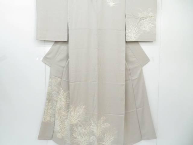 付下げ 刺繍入り 秋草文 着物【リサイクル】【中古】