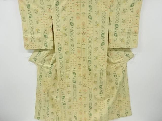 未使用品 縞に花更紗模様織り出し手織り真綿紬着物【リサイクル】【中古】