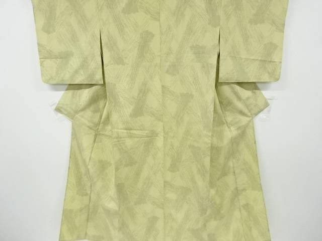刷毛目模様織り出し十日町紬単衣着物【リサイクル】【中古】