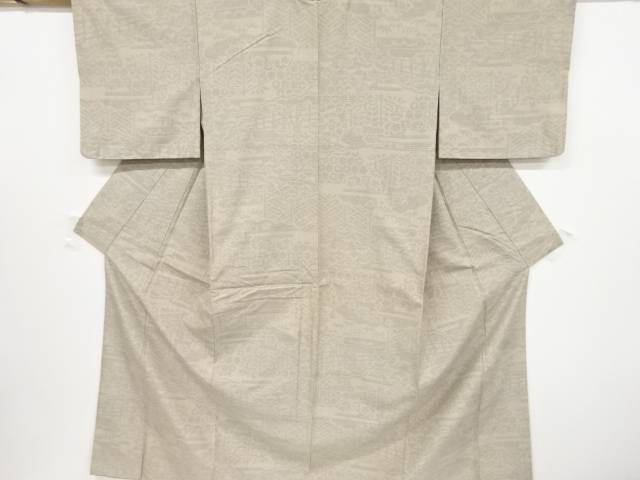 抽象模様織り出し本場結城紬80亀甲着物(石下)【リサイクル】【中古】