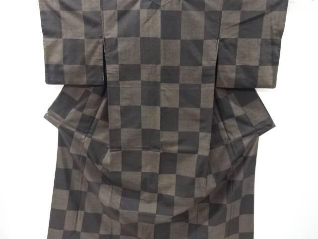泥染市松模様織り出し手織り真綿紬着物【リサイクル】【中古】
