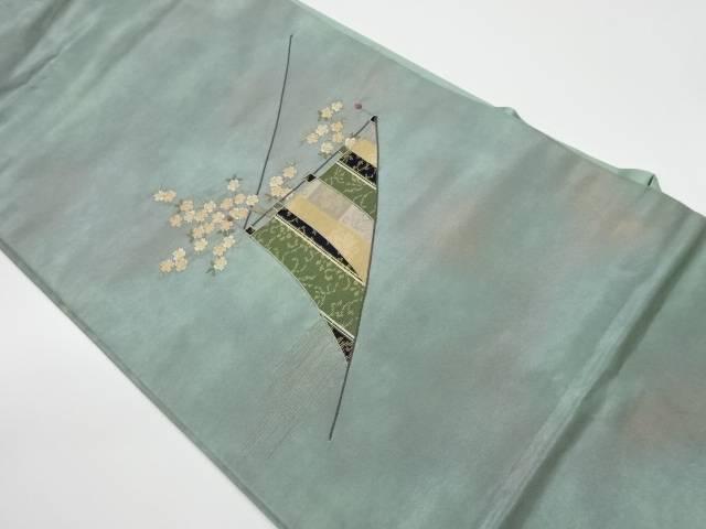 斑幕に桜模様織出し名古屋帯【リサイクル】【中古】