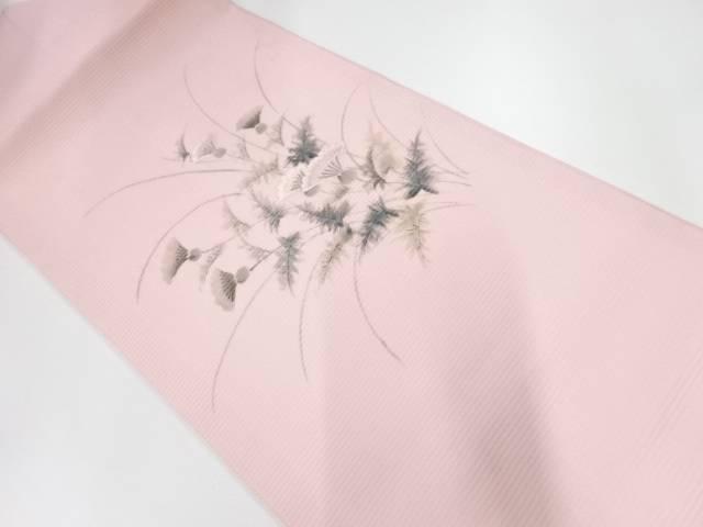 作家物 絽綴れ手描き菊模様刺繍名古屋帯【リサイクル】【中古】