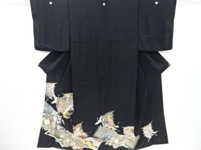 金彩几帳に群鶴・花車模様刺繍留袖(比翼付き)【リサイクル】【中古】