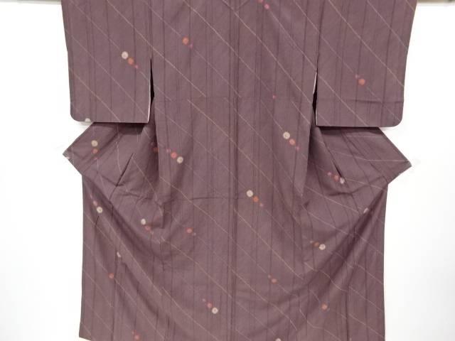 絞り斜め縞に水玉模様手織り真綿紬着物【リサイクル】【中古】