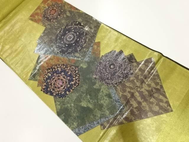 合計3980円以上の購入で送料無料 引箔螺鈿色紙に華紋模様袋帯 祝日 現金特価 中古 リサイクル
