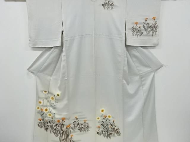 手描き向日葵に菊模様刺繍単衣訪問着【リサイクル】【中古】