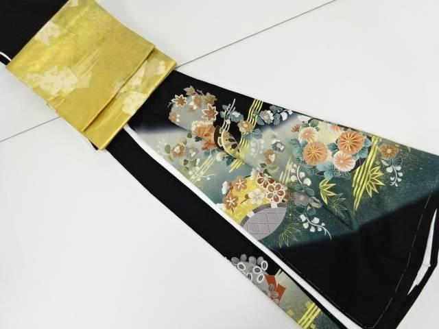 未使用品 仕立て上がり 作家物 金彩花丸紋に源氏車模様刺繍留袖(比翼付き)・袋帯セット