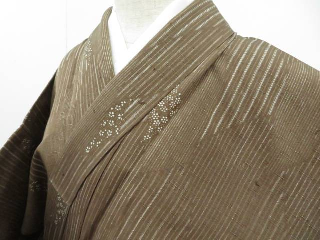 紬 Sサイズ 単衣 縞に菱文 着物【リサイクル】【中古】