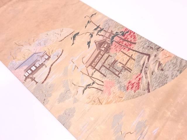 沈金箔家屋にに樹木風景模様織出し袋帯【リサイクル】【中古】