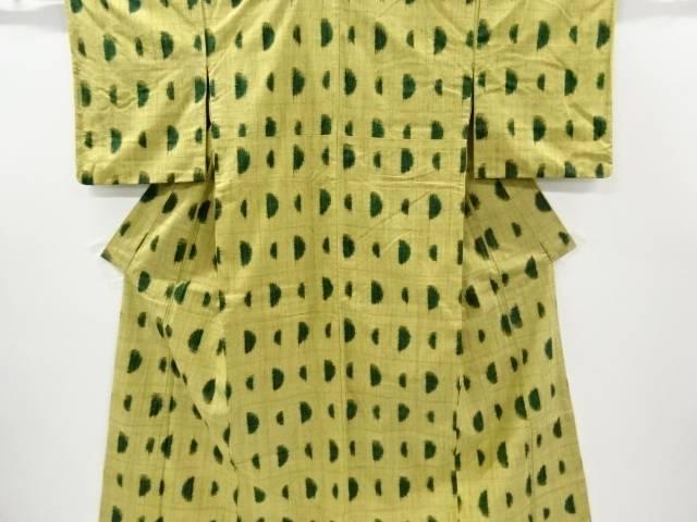 格子に幾何学模様織り出し手織り真綿紬着物【リサイクル】【中古】