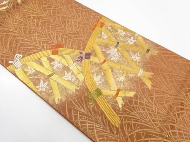光悦垣に楓模様織出し袋帯【リサイクル】【中古】