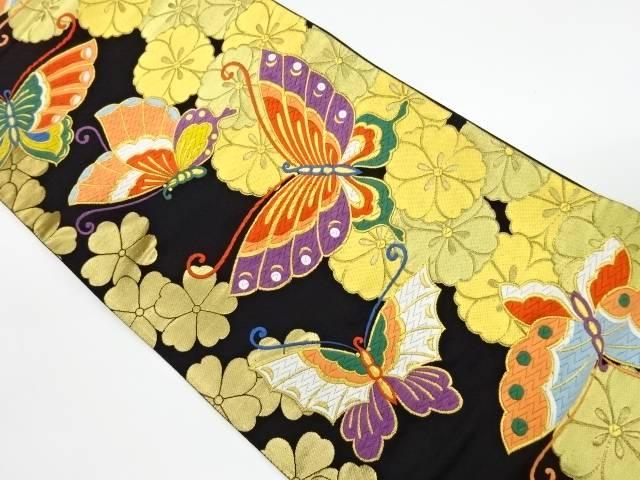 じゅらく製 花々に蝶模様織出し袋帯【リサイクル】【中古】