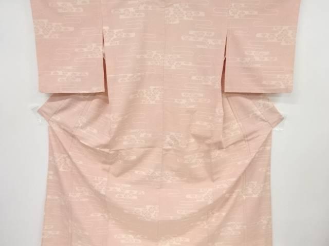 ヱ霞に花模様織り出し本塩沢100亀甲単衣着物【リサイクル】【中古】