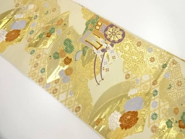 純金二重箔地紙に御所車・草花模様織出し袋帯【リサイクル】【中古】