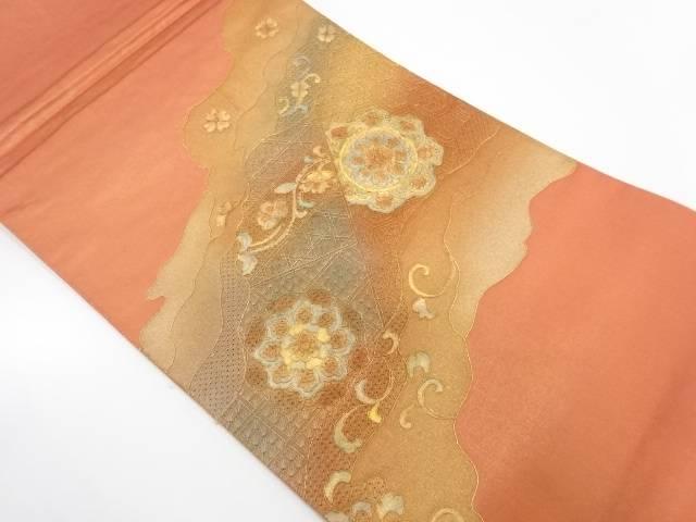 汕頭刺繍道長取りに華紋模様織出し袋帯【リサイクル】【中古】