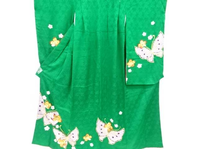 蝶に桜模様刺繍子供着物(比翼付き)【リサイクル】【中古】