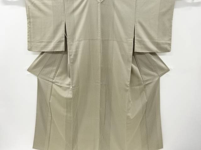 縞に斜め格子模様織り出しお召し着物【リサイクル】【中古】