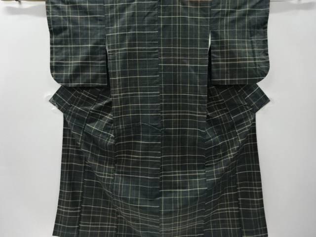 創作手織り真綿紬間道織り出し着物【リサイクル】【中古】