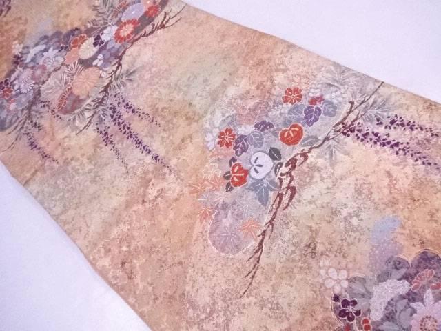 袋帯 刺繍 松に古典草花文【リサイクル】【中古】